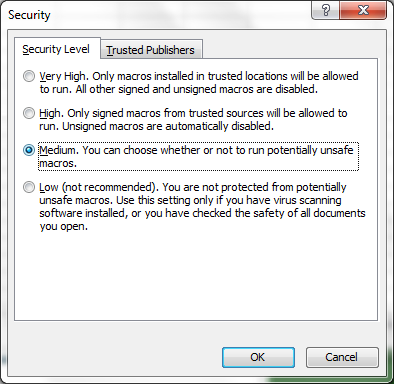 Window for changing macro security settings (Excel 2003)