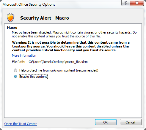Warning about macro presence (Excel 2007)
