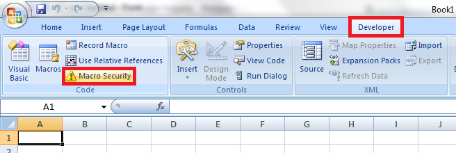 Macro security button in the Developer tab on Excel 2007 ribbon