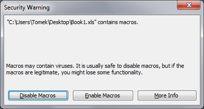 Message box allowing user to run or block a macro (Excel 2003)