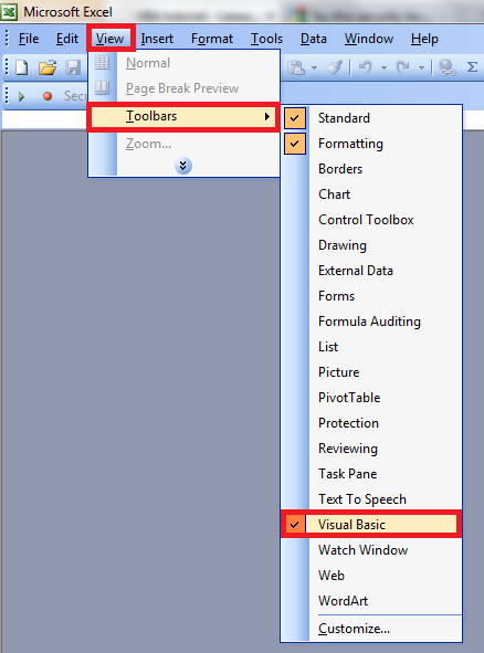 How to show VBA toolbar in Excel 2003>